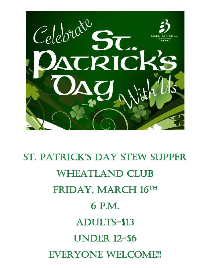 St Patrick's @ the Wheatland Club