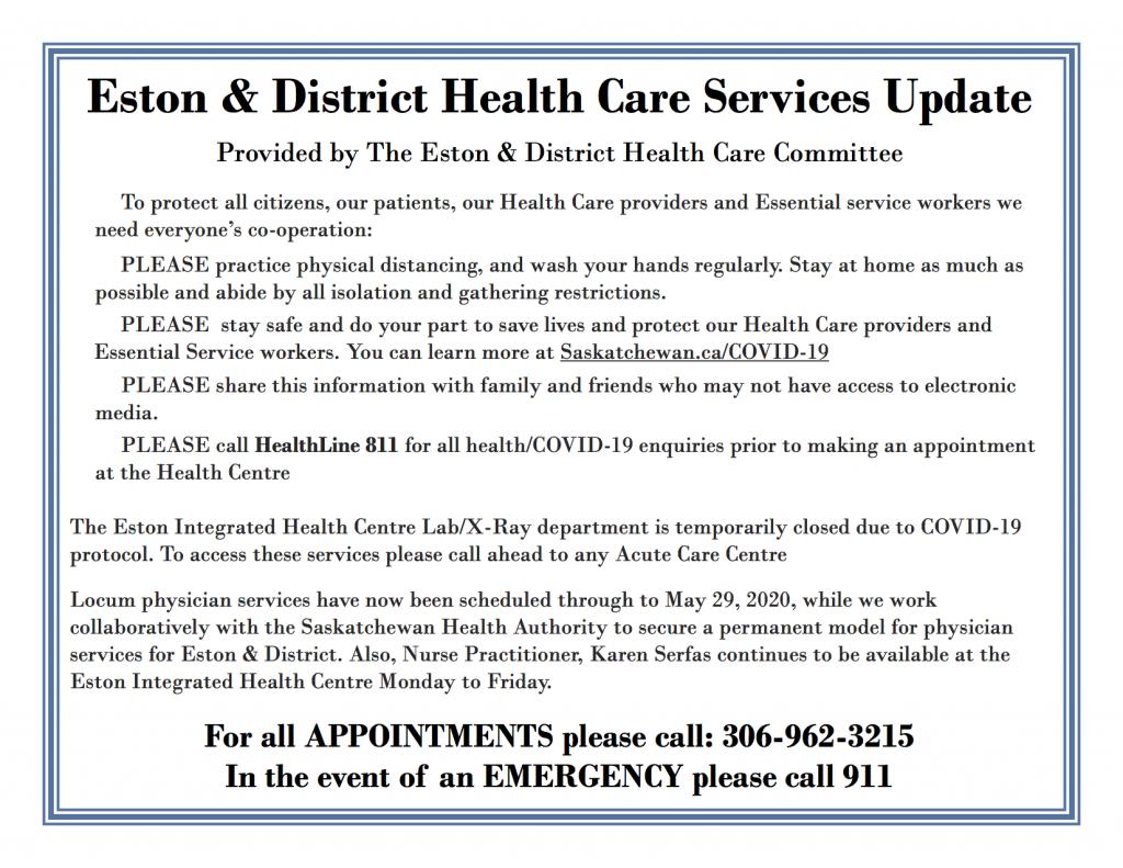 Eston & District Health Care Services Update